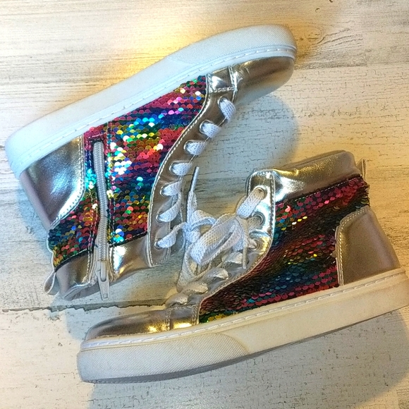 SO Silver Rainbow Mermaid Flip Sequin High Tops 5